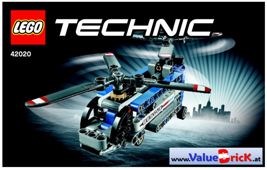 lego technic bauanleitung 42020 doppelrotor hubschrauber. Black Bedroom Furniture Sets. Home Design Ideas