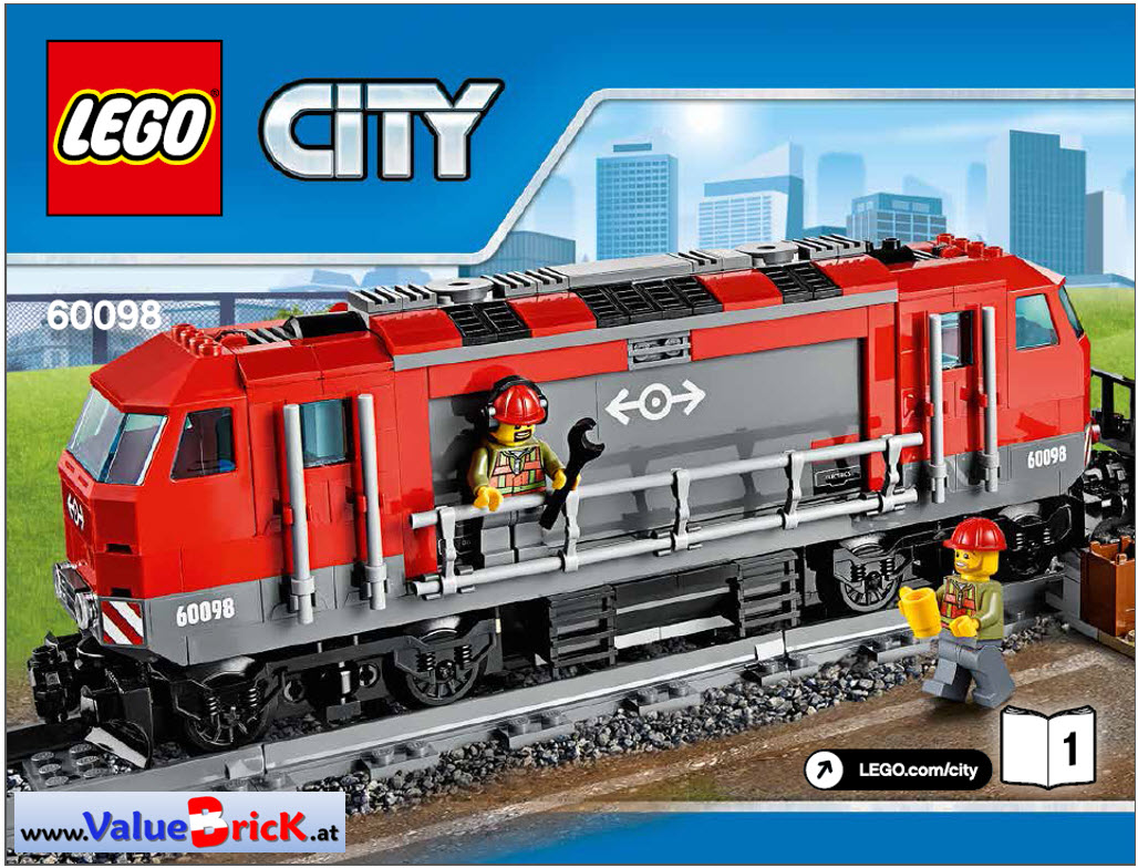 lego city bauanleitung 60098 schwerlastzug nur lokomotive. Black Bedroom Furniture Sets. Home Design Ideas