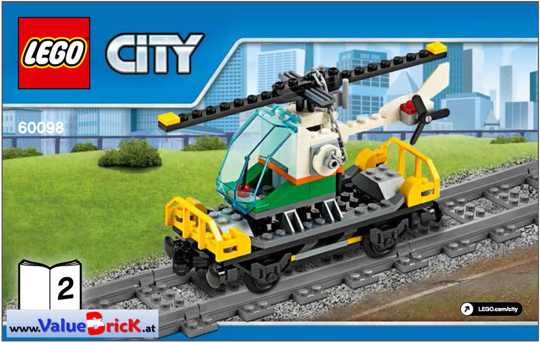 lego city bauanleitung 60098 schwerlastzug nur tiefladerwaggon mit helikopter. Black Bedroom Furniture Sets. Home Design Ideas