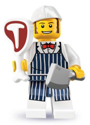 Metzger mit Zubehör Lego Sammelfigur Serie 6 Schlachter