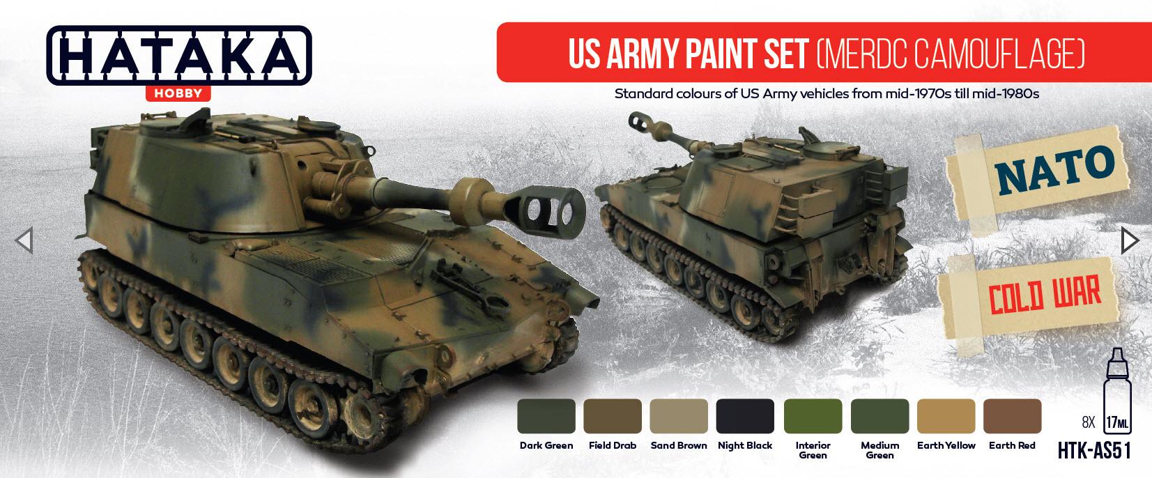 Hataka Hobby HTK AS10 US Army paint set MERDC camouflage ...