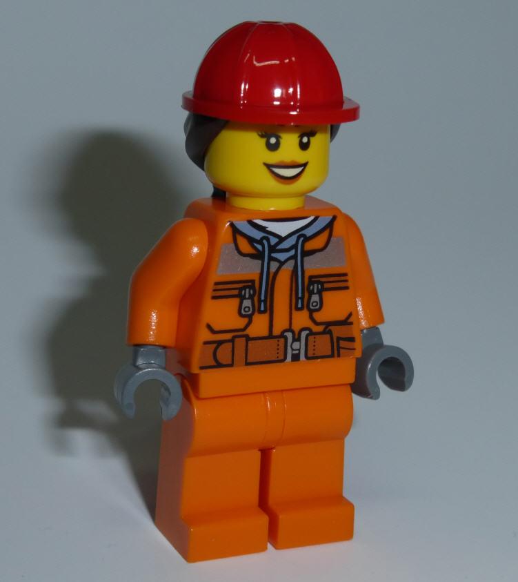 Lego City Minifiguren Cty528 Bauarbeiterin Mit Orangem Overall Und
